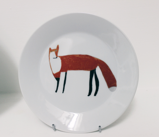 Porcelain Fox Plate