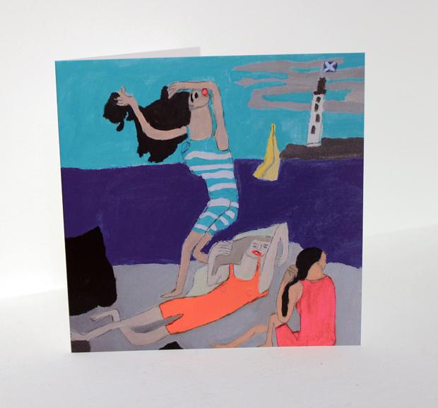 Greeting Card; 'Sunbathing on Largs Beach'
