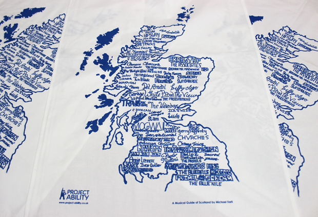 Tea towel, 'Musical Guide of Scotland'