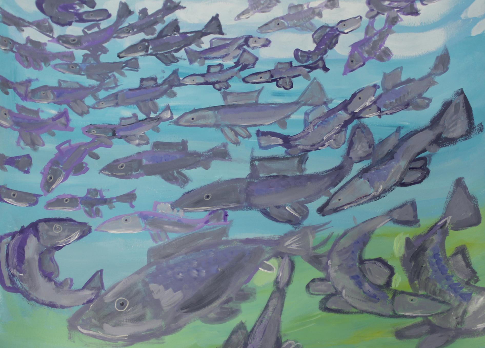 Artwork of the Week – 'Under Water Silver Sock Eye Salmon' by Josephina Mena