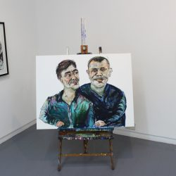 'Robert and Nathan Gale' (portrait painted live in the gallery)