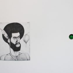 Left: 'The Levite Herbalist' 2015 Right: 'Many Moons (Paintball)' 2016 by Jim Lambie
