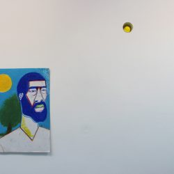 Left: 'Untitled' (N.D.) Top: 'Many Moons (Paintball)' 2016 by Jim Lambie