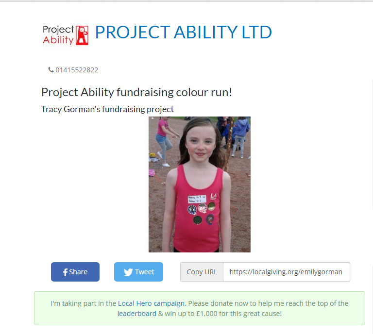 Help Emily raise funds for Project Ability