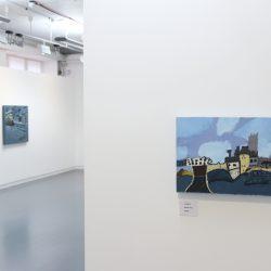 Foreground:Martin Sloss. 'Untitled'. Background: Ralph Douglas. 'Bus Stop, Glasgow'.