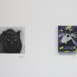 Left: Christina Sooja Massey. 'Untitled (panther), Right: Deva One. 'Legend'