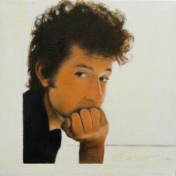 'Bob Dylan' oil on canvas by Patrick Butterworth, 29 x 29 cm, £125