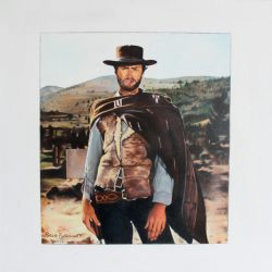'Clint Eastwood' oil on canvas by Patrick Butterworth, 60 x 60 cm, £400