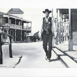 'Gary Cooper in High Noon' oil on canvas by Patrick Butterworth, 40 x 60 cm, £400