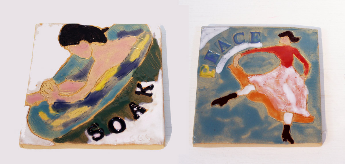 Ceramic tiles by Sian Mathers
