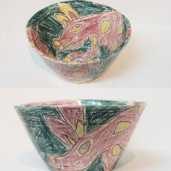 Ceramic hand drawn bowl
