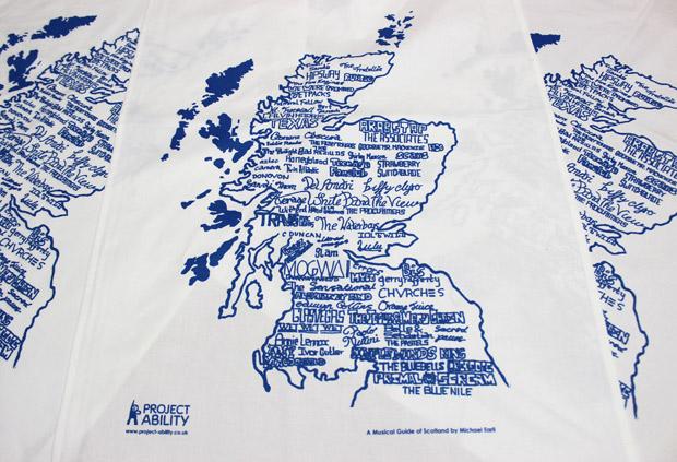 Tea towel, 'Musical Guide of Scotland'