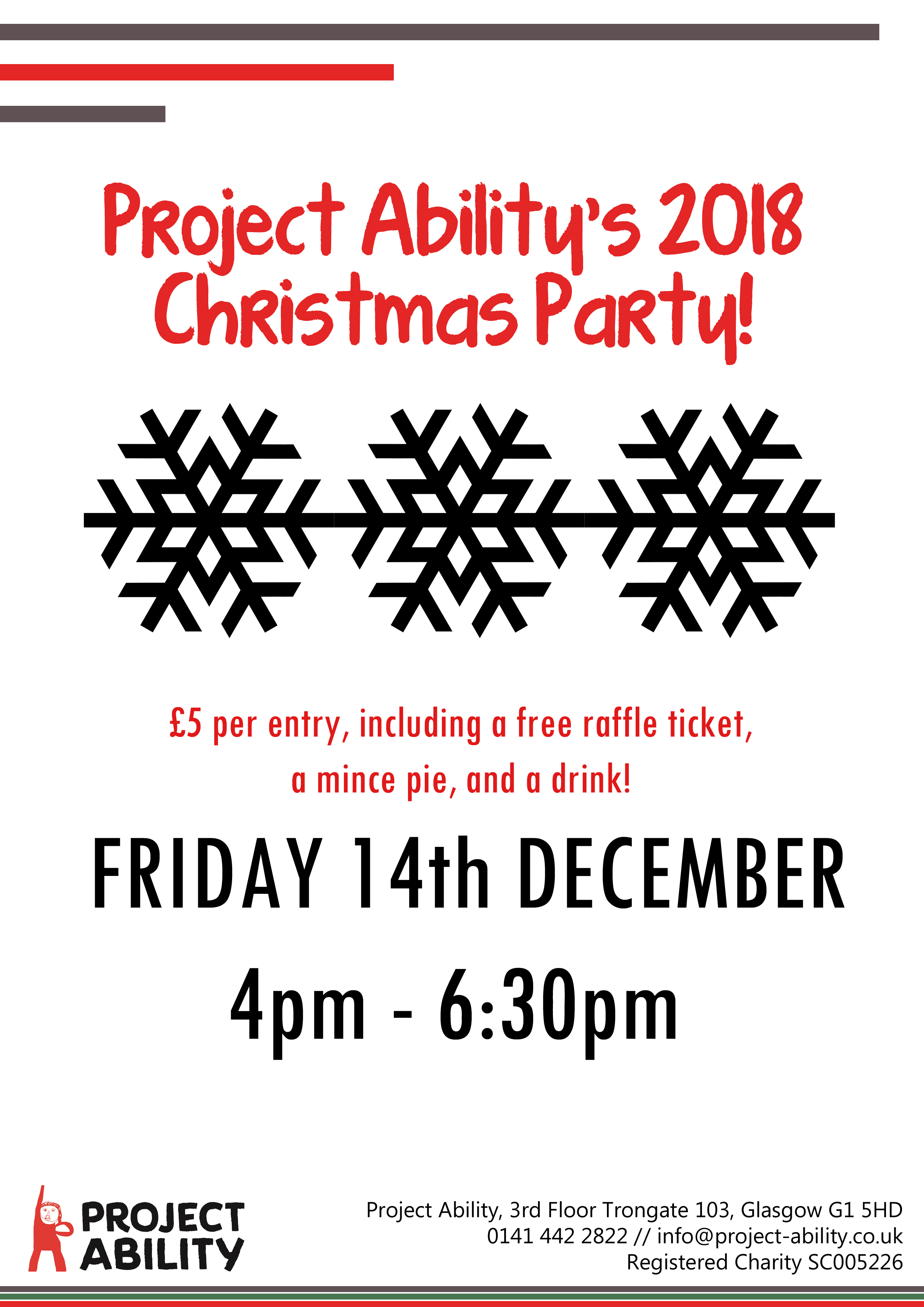 Project Ability Christmas party poster