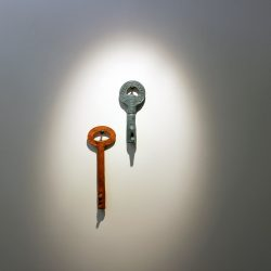 large sculpture of two keys by Cameron Morgan & Charlie Hammond