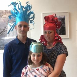 making paper wigs at project ability, merchant city festival