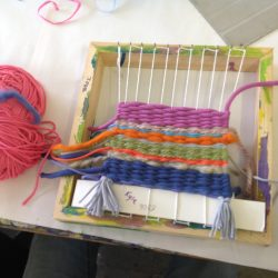 weaving wool at Project Ability