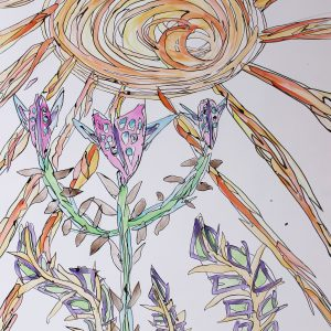 watercolour and ink painting of a sun and flowers by Cameron Morgan