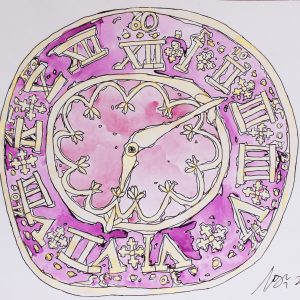 Pink clock watercolour and ink by Cameron Morgan