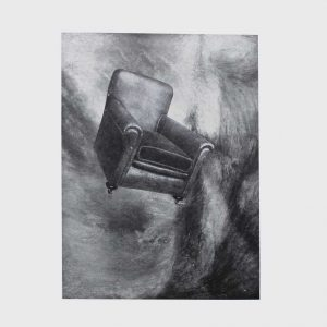 Black and White collage with swirling background and an old armchair by artist Pum.