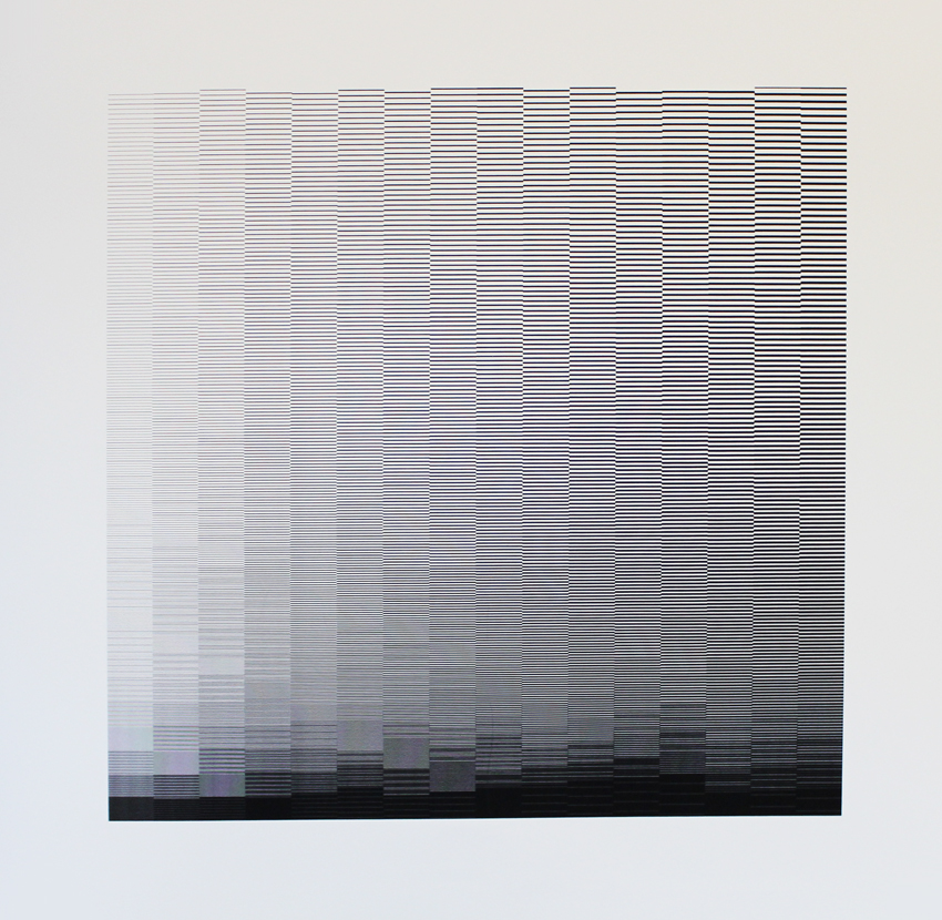 A square print with varying widths of black lines to make an almost hypnotic pattern. By Richard Anderson