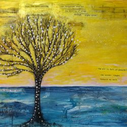 painting of a tree with a yellow sky behind it by Aileen Paterson