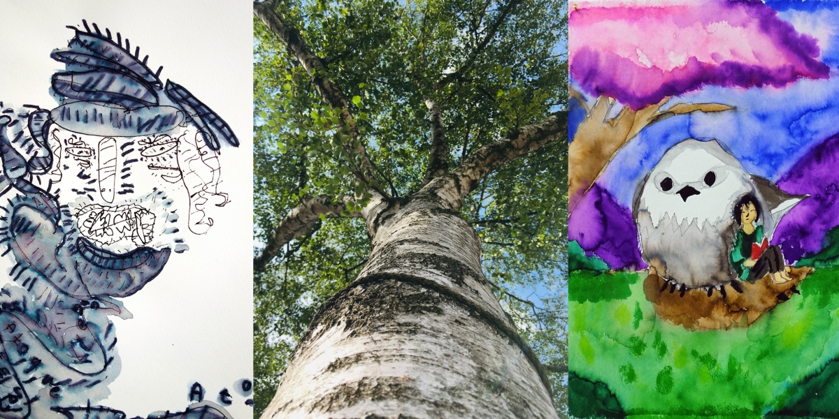 An inky drawing by Declan Leslie, a low-angle photo of a tree by Daniel Elms and a bright watercolour of a person and a large bird by Gary Turner